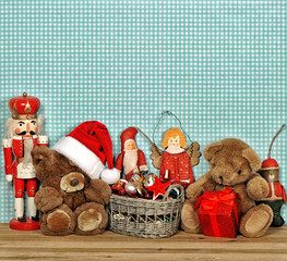 nostalgic christmas decoration with antique toys