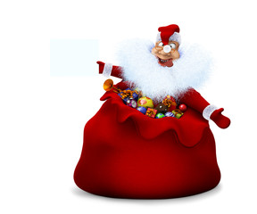 Santa Claus is in a sack and holds in a hand the announcement