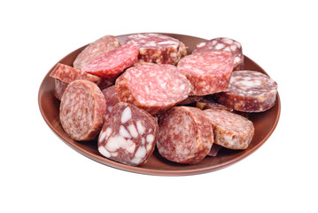sausage sliced in brown plate isolated on white