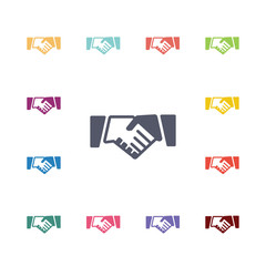handshake flat icons set.