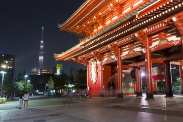 浅草寺 浅草寺と東京スカイツリー ライトアップ