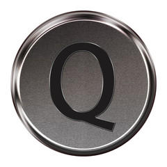 "Metal button black alphabet letter ""Q""  isolated on white backgr"