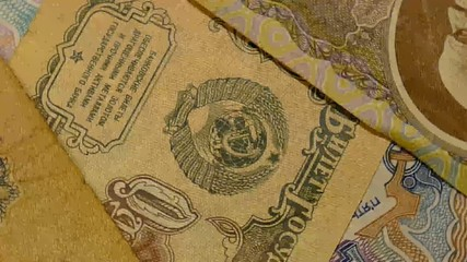 Close up view to old banknote of 10 rubles. Rotation