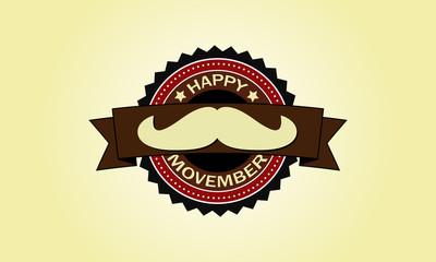 happy movember vintage badge