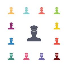 policeman flat icons set.