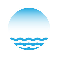 Blue water and sky, vector logo