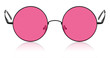 Leinwanddruck Bild - Round hippy glasses with pink lens