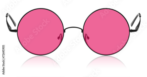 Leinwanddruck Bild Round hippy glasses with pink lens