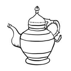Antique jug or teapot, vector illustration