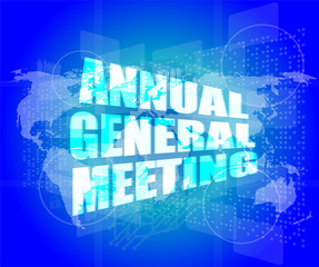 annual general meeting word on digital touch screen