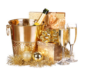 New Year's Eve. Champagne and Presents. Celebration