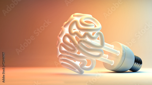 Leinwanddruck Bild Brain Flourescent Light Bulb