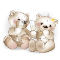 Two lovers bear drinking glasses with champagne