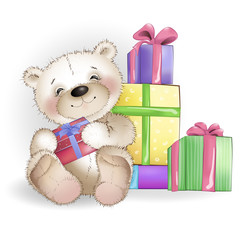 Smiling Bear is sitting with gift boxes