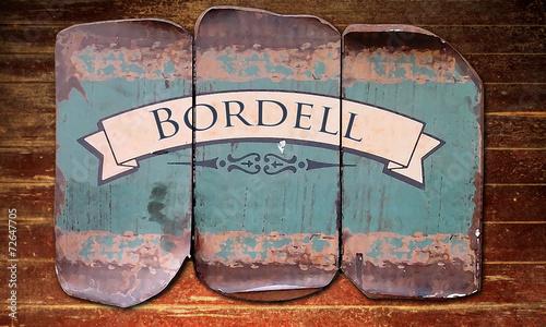 canvas print picture Holzmetallbild 1 - Bordell