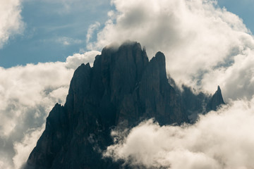 Sassolungo peaks in cloud inversion