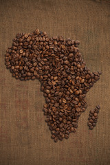 Coffee beans map of African /with clipping path