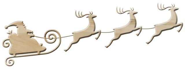Weihnachtsmann mit Rentierschlitten aus Ahornholz, freigestellt