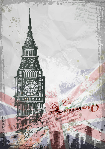 Big Ben, London, England, UK. Hand Drawn Illustration - 72648507