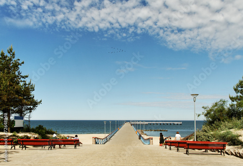 canvas print picture Marine pier in Palanga.