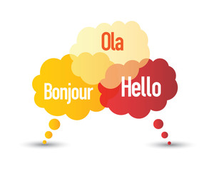 Speech bubbles with the word hello in different languages