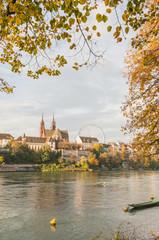 Basel, Altstadt, Münster, Kirche, Pfalz, Herbst, Rhein, Schweiz