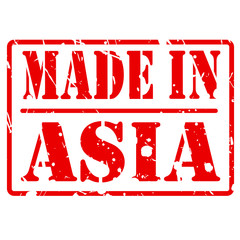 Made in asia red stamp text