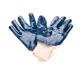 Blue rubber work gloves.