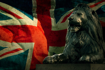 Art british lion on Union Jack background