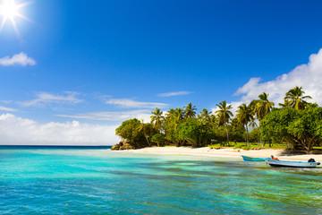 Art Caribbean beach with fishing boat
