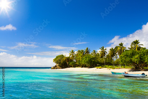 Fotobehang Oceanië Art Caribbean beach with fishing boat