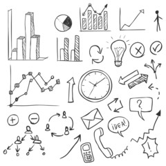 Vector Set of Sketch Business Infographic Doodles