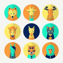 Set of stylized animal avatar