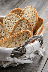 Homemade bread slices in a breadbasket