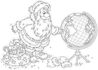 Santa planning a route for delivery of Xmas gifts