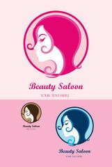Beauty Saloon, pink logo design