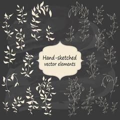 Hand sketched vintage floral elements