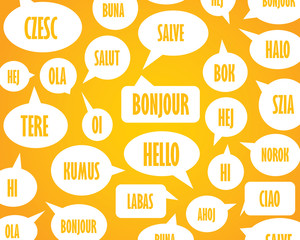 Orange pattern speech bubbles word hello in different languages