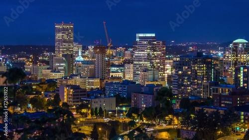 Foto op Aluminium New York Portland Above Downtown Night 659