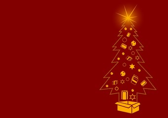 Dotted Christmas Tree with Gifts