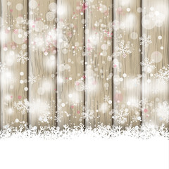Snowfall Ash Wooden Background
