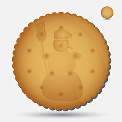 christmas brown biscuit with snowman symbol eps10