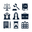 Law icons set in flat design style. - 72652772
