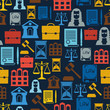 Law icons seamless pattern in flat design style. - 72652775