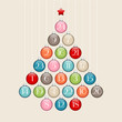 Advent Calendar Christmas Tree Balls Retro