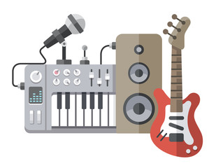 Music tools in flat style: guitar, synthesizer, microphone, spea