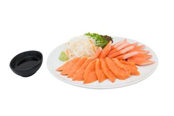 Salmon sashimi and imitation crab