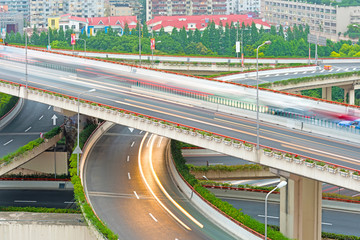 overlooking the vehicle motion blur on shanghai elevated road ju