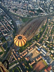 Flying over train station