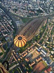 Flying over train station